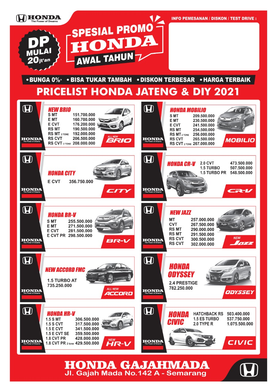 Sales Dealer Mobil Honda Harga Cash & Kredit, Promo & Diskon mobil Honda HR-V, Brio, Satya, Mobilio, RS, Jazz, City, Civic, Freed. CRV, Accord, BRV, CRZ.